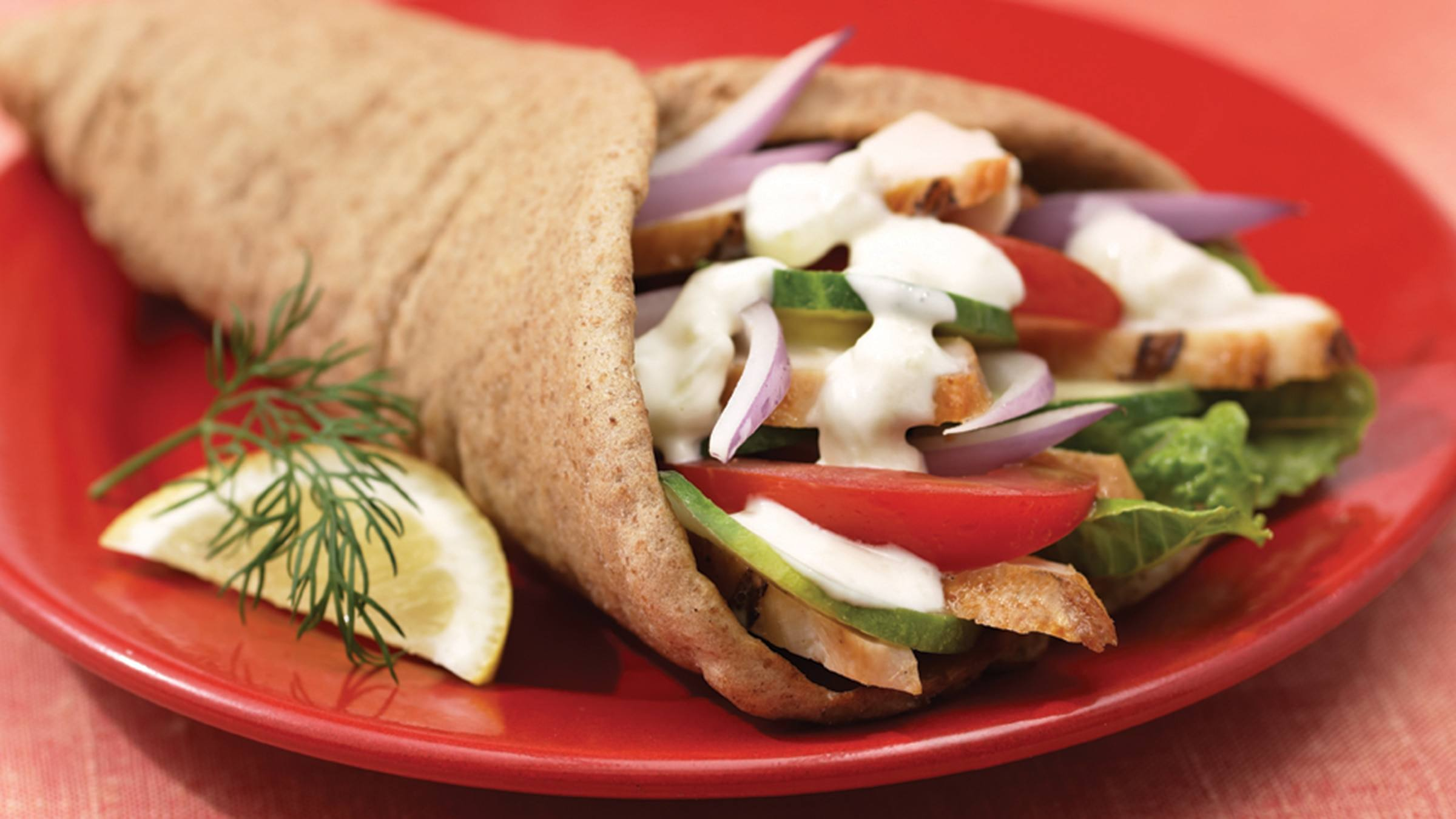 Chicken Pita with Tzatziki Sauce Recipe
