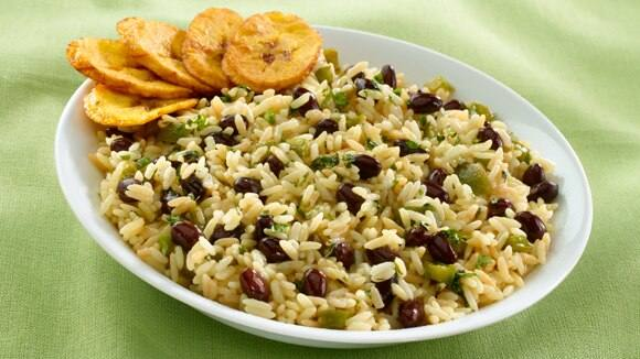 Cuban Rice & Beans with Crispy Fried Plantains