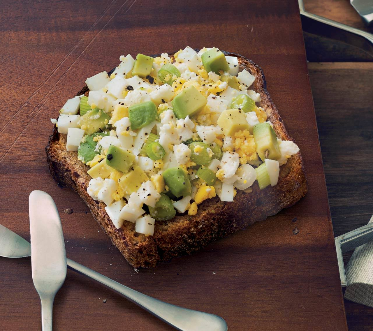 Avocado Toast with Egg and Feta Cheese