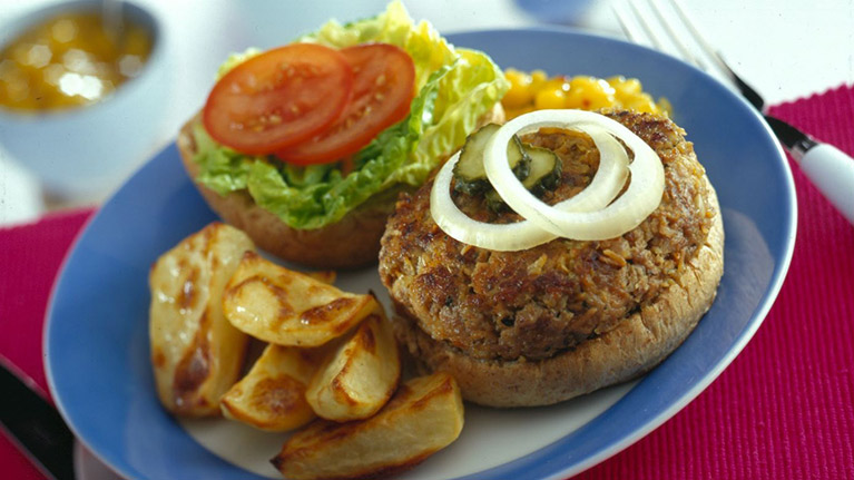 Herbed Burgers with Potato Wedges