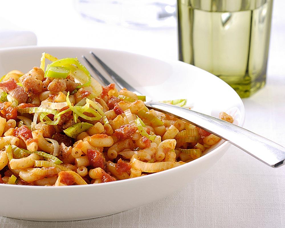 Macaroni Tradizionale met gebakken prei en spekjes