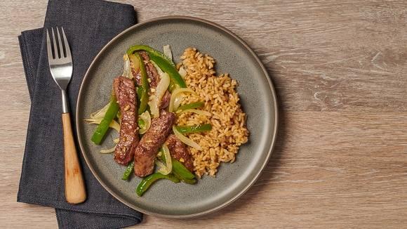 Skillet Steak, Peppers & Onions