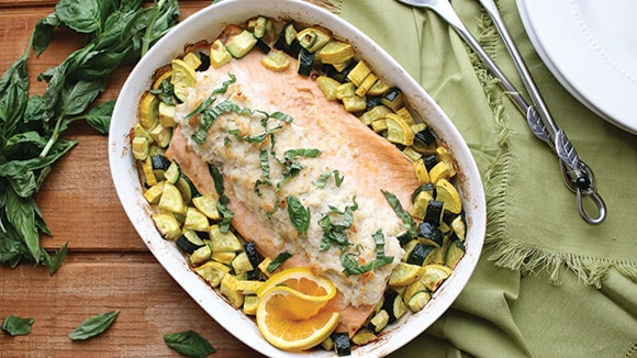 Crab Topped Roasted Salmon