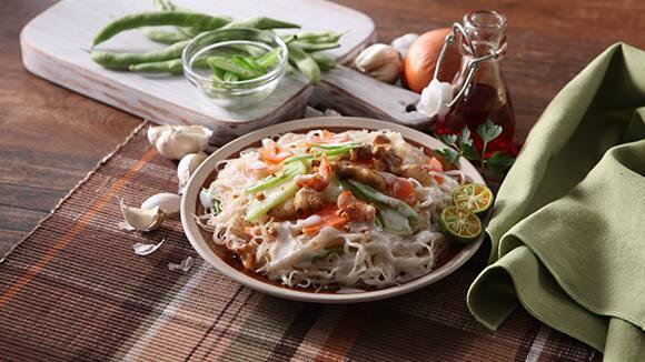 Pancit Bihon with Pork in Coconut Sauce Recipe