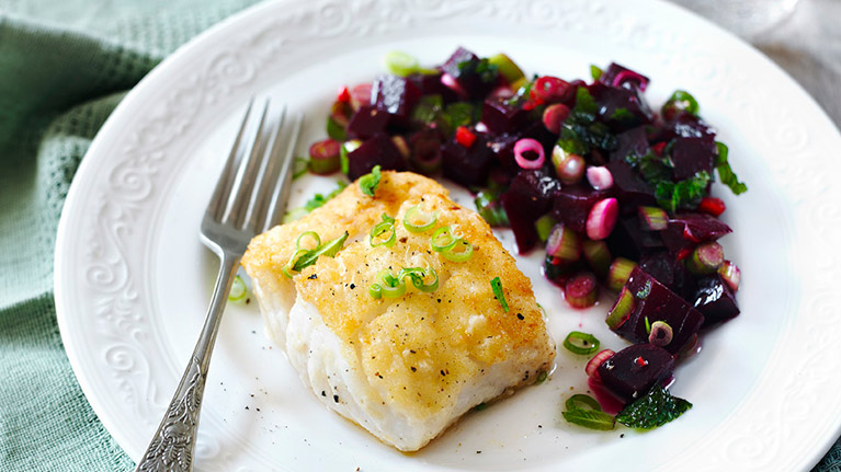 Fresh Fish with Colourful Beetroot Salsa