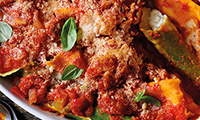 Baked Bertollini Pasta Filled with Ricotta, Mozzarella & Basil with Tomato Sauce