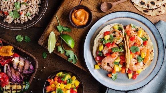 Knorr Shrimp Tacos with Mango Red Pepper Salsa