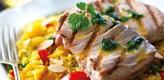 Bifes de Atum com arroz de açafrão