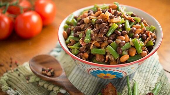 Black, Pink and Green Bean Salad