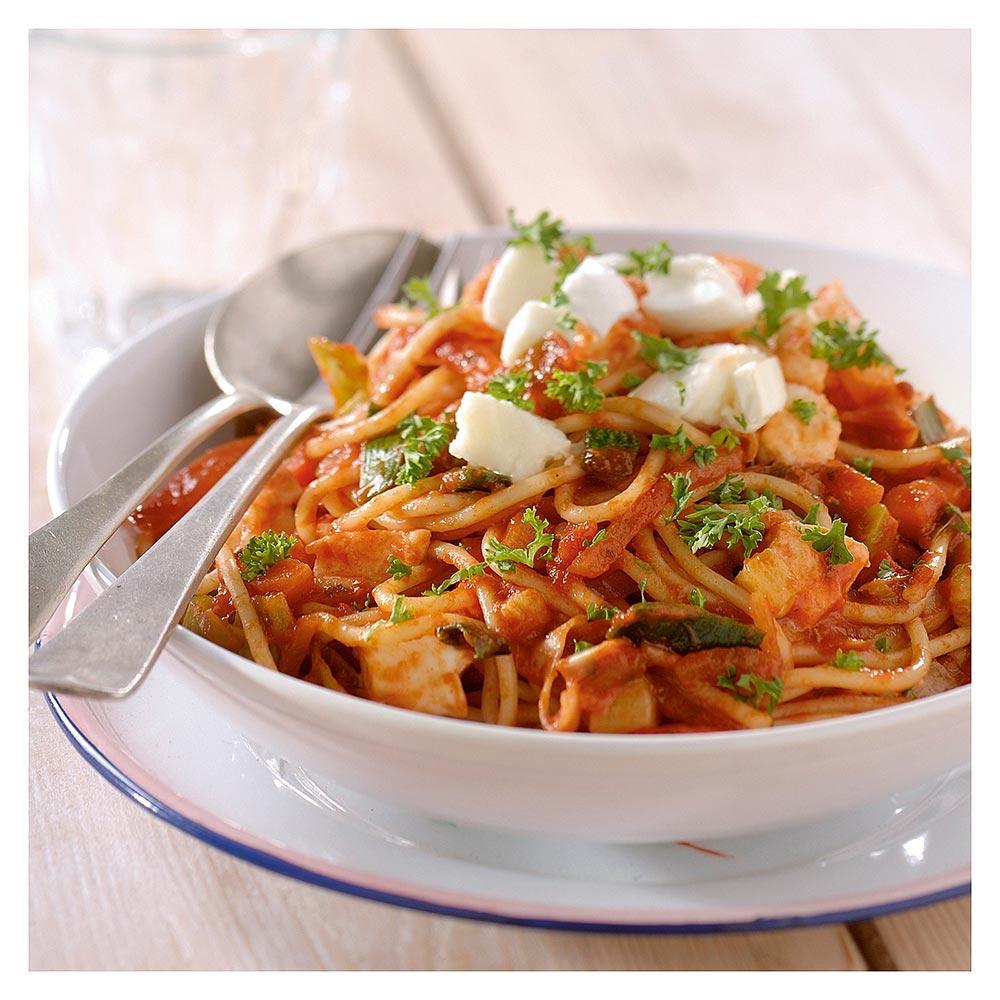 Spaghetti tradizionale met mozzarella en peterselie