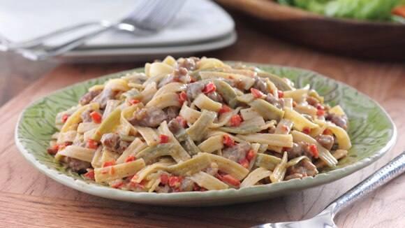 Sausage & Pepper Alfredo Pasta