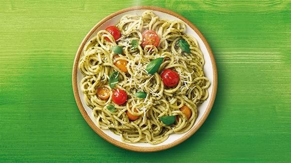 Pesto Spaghetti with Cherry Tomato Medley