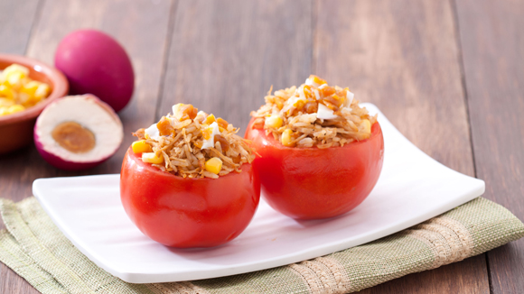 Spicy Chicken Adobo Stuffed Tomatoes Recipe