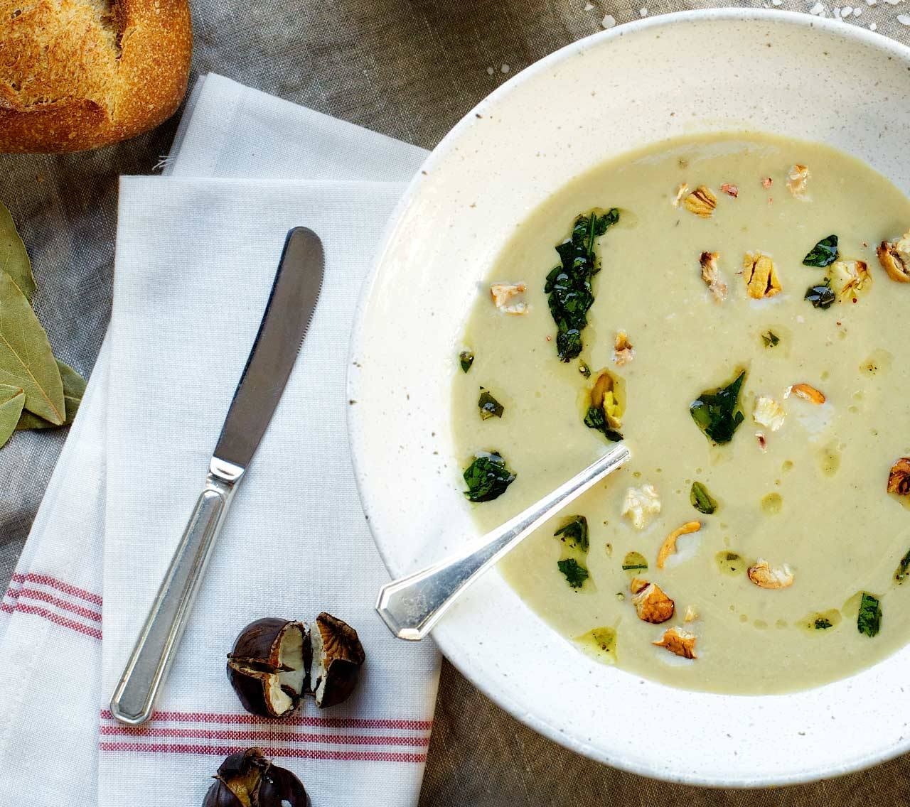 Sunchoke, Cauliflower & Chestnut Soup with Herbed Toasts