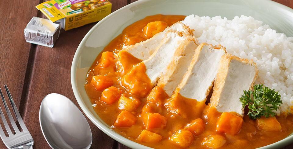 ข้าวแกงกะหรี่ญี่ปุ่นเต้าหู้ทอด (เจ)