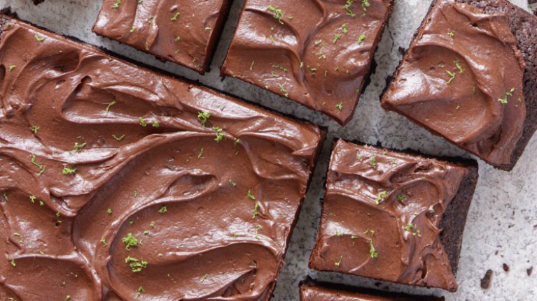 Brownie Squares with Avocado Lime Chocolate Frosting by Topless Baker