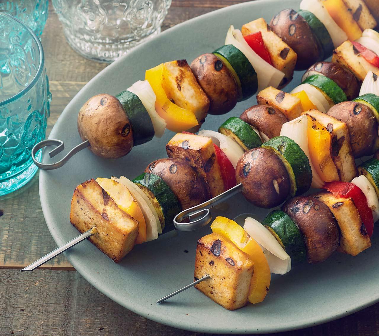 Lemon-Herb Grilled Tofu & Veggie Kabobs