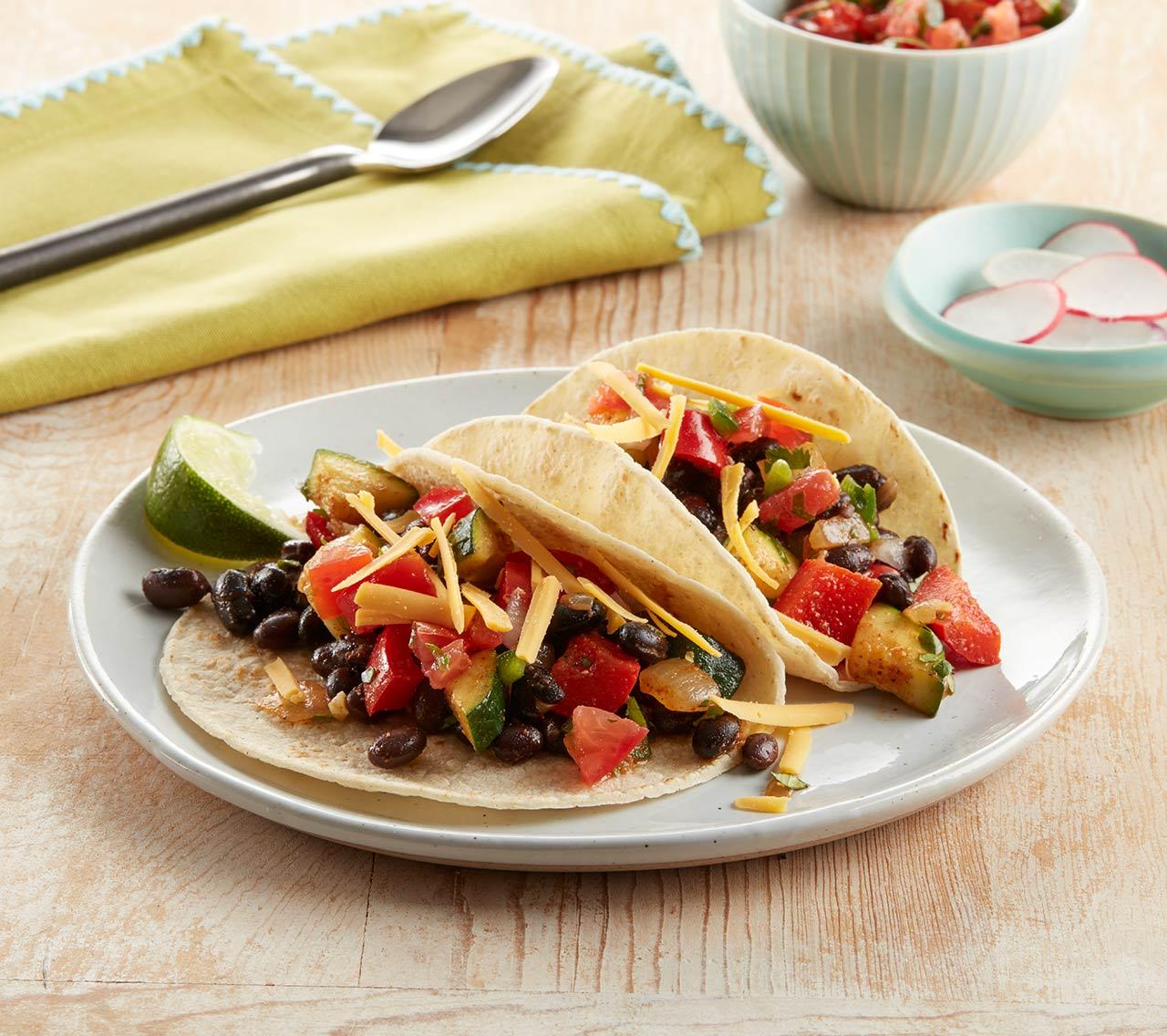 Tacos aux haricots noirs végétaliens