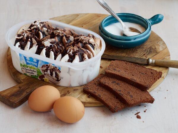 Hoe 'Chocoladecake met 3 chocolade ijs' bereiden.