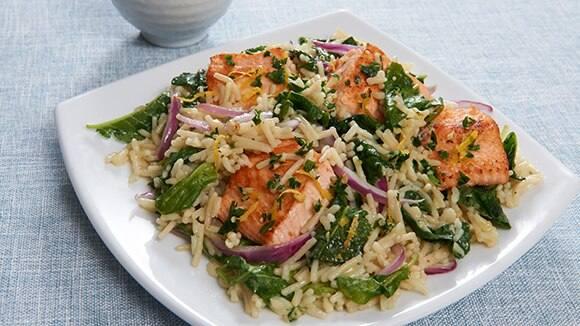 Salmon & Kale With Lemon Herb Topping