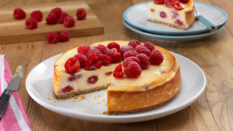 Baked Raspberry and Lemon Dairy-Free Cheesecake