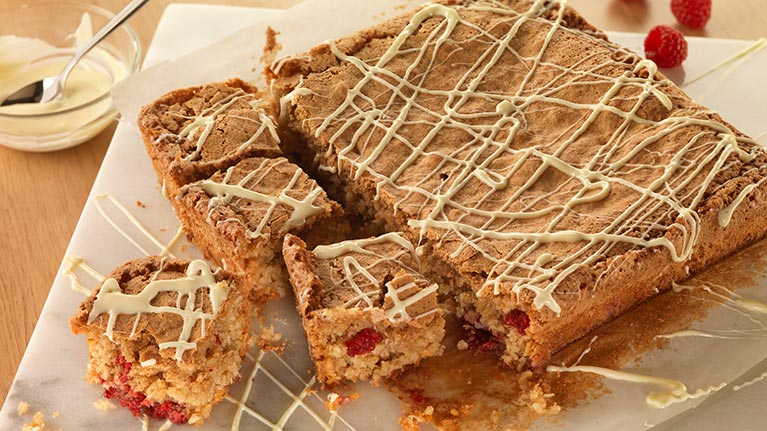 White Chocolate Chip and Raspberry Blondies