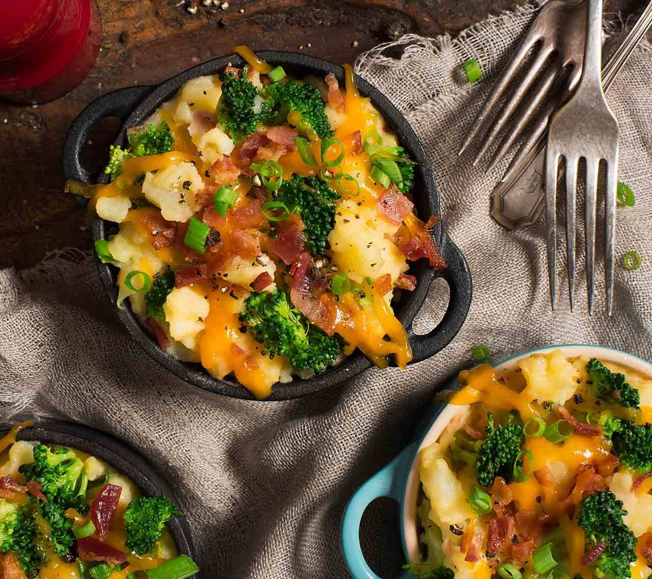 Loaded Mashed Potatoes with Bacon, Cheddar and Broccoli