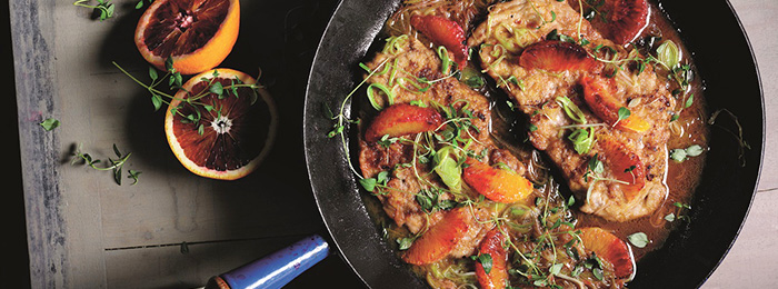 Pan-fried Pork Escalopes Recipe with Leeks and Blood-Red Orange