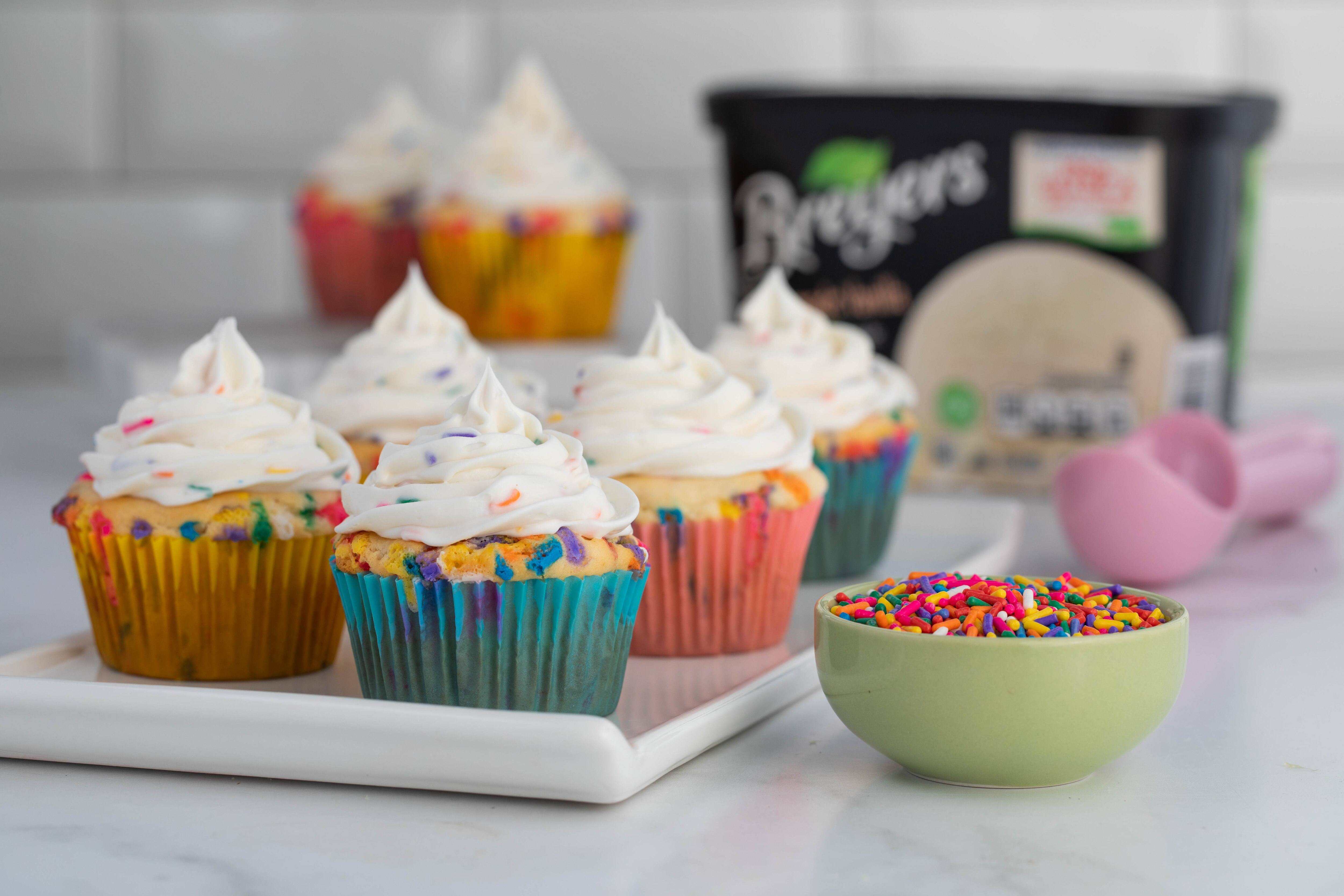 Birthday Cake Ice Cream Cupcakes Recipe