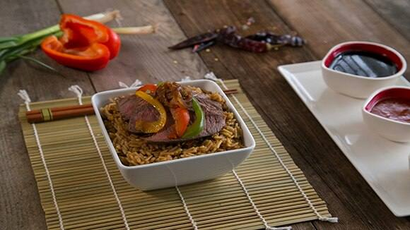 Pepper Steak with Teriyaki Rice