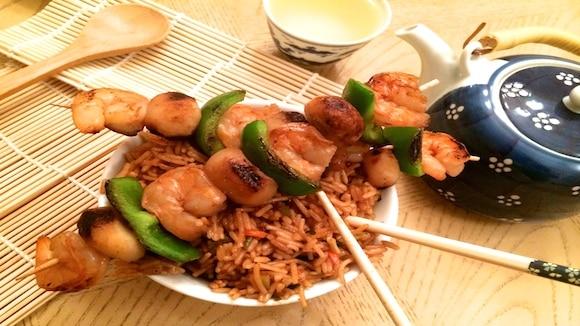 Asian Shrimp Kabobs with Teriyaki Rice