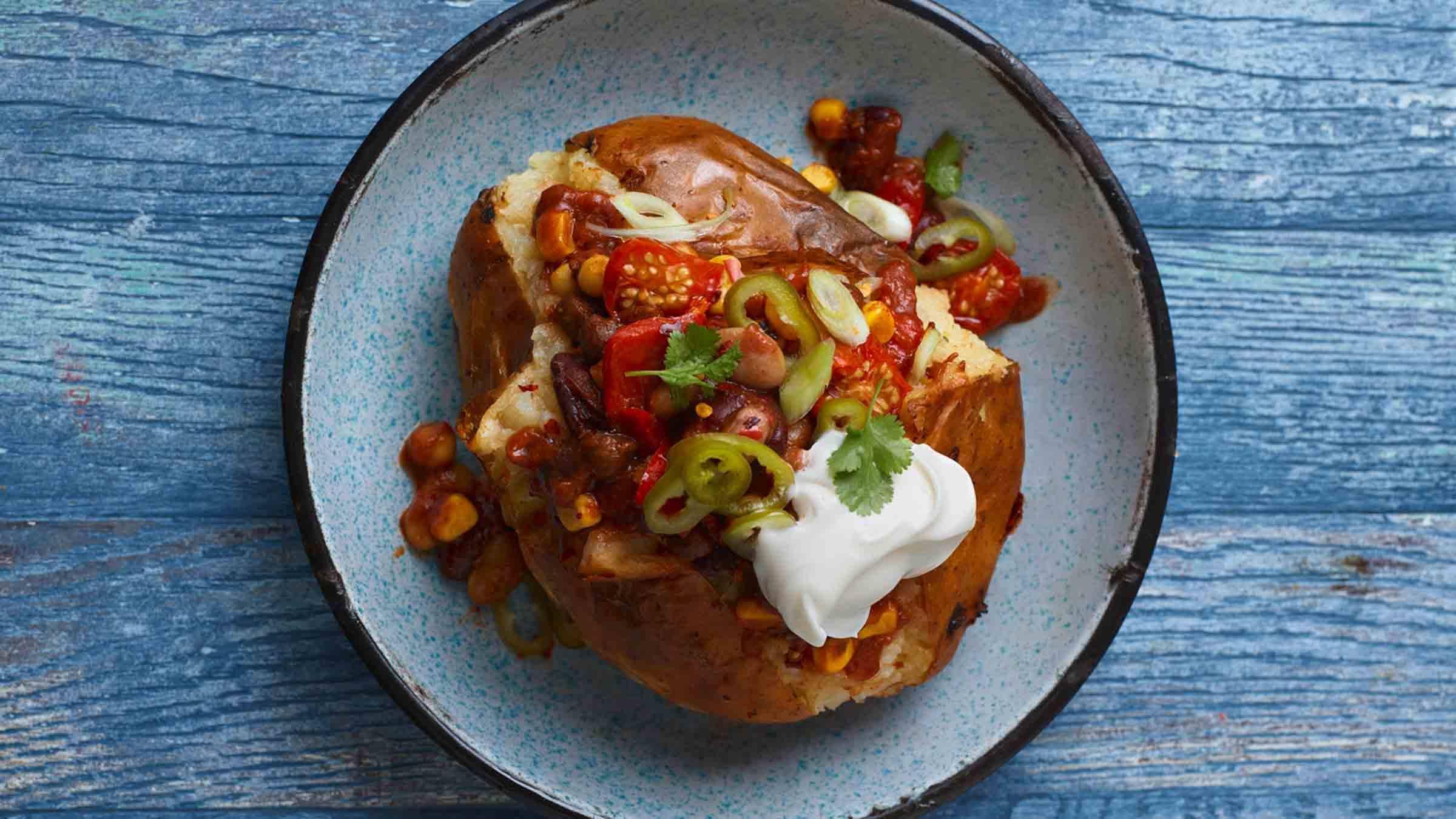 Vegan Chili Stuffed Baked Potatoes