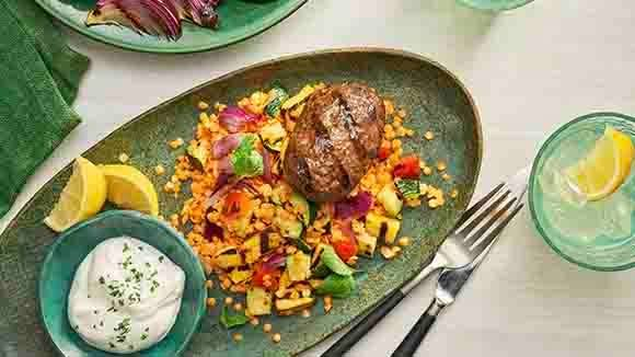 Grilled Kofte and Vegetables with Lentils