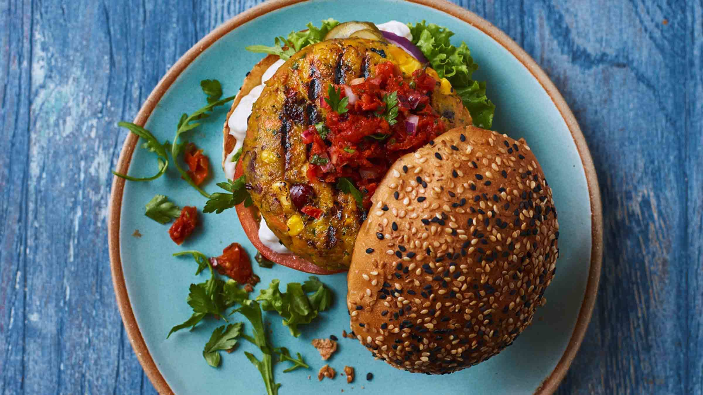 Vegan Burgers with Sun-Dried Tomatoes & Spinach