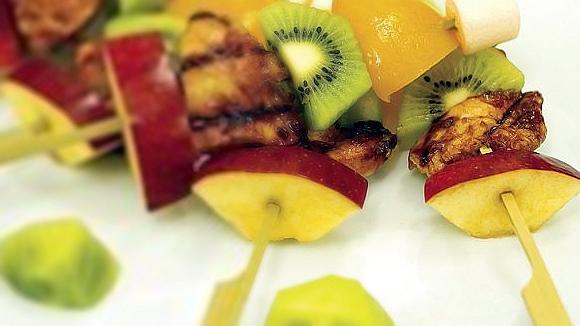 Quick Kiddie Fruits and Chicken Kebab Recipe