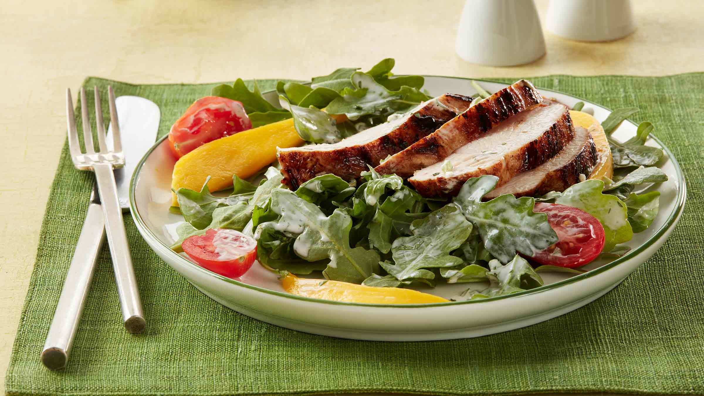 Grilled Chicken Salad with Avocado Lime Dressing