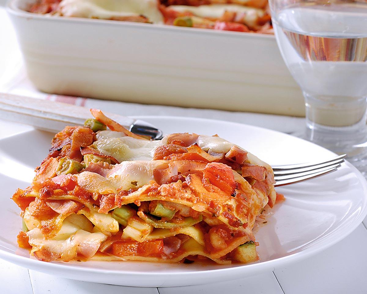 Losse lasagne met ham en mozzarella