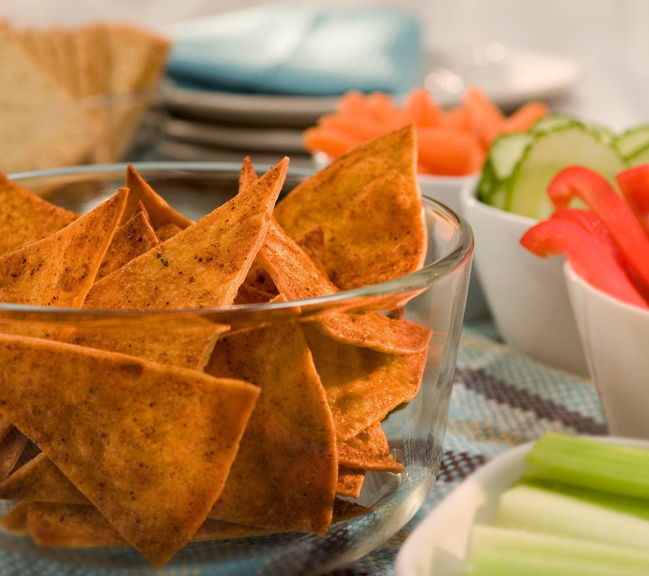 Croustilles de tortillas cuites au four au chili