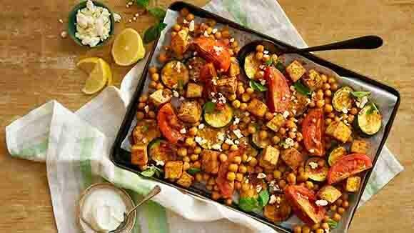 Mediterranean Tofu & Vegetable Sheet Pan Dinner