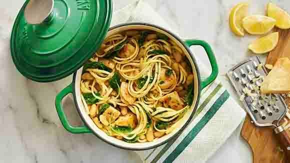 One Pot Lemon Linguine with Chicken and Kale