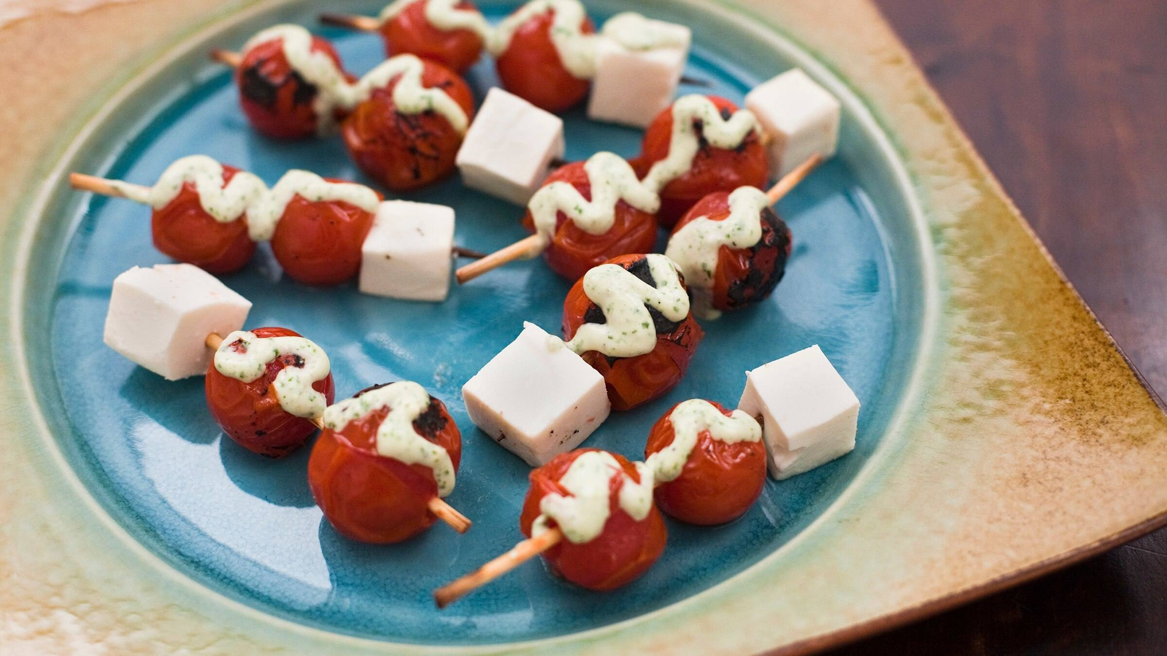 Broiled Cherry Tomato Skewers with Basil Dressing