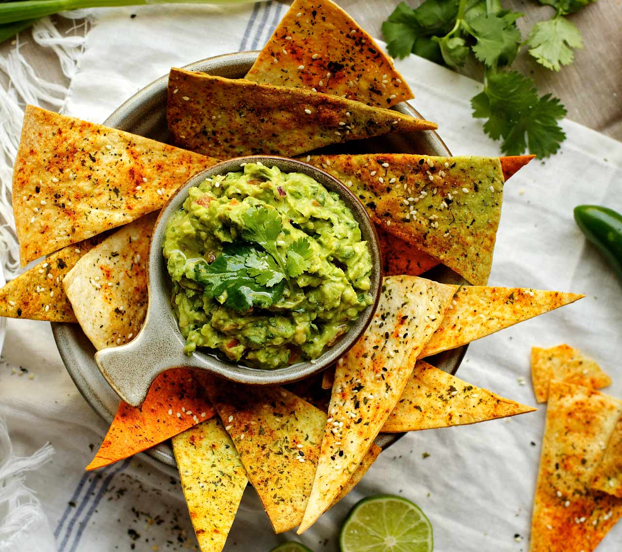 Hearty Guacamole with Oven-Baked Chips