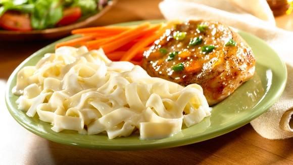 Glazed Pork Chops with Noodles Alfredo