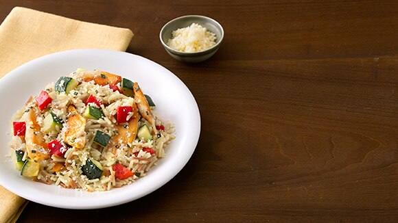 Chicken Rice Pilaf with Zucchini & Roasted Peppers