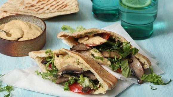 Grilled Portobellos with Hummus