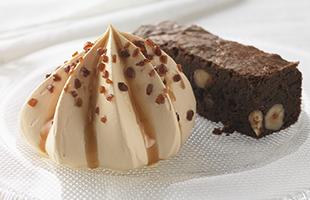 Brownie et sa glace crème brûlée