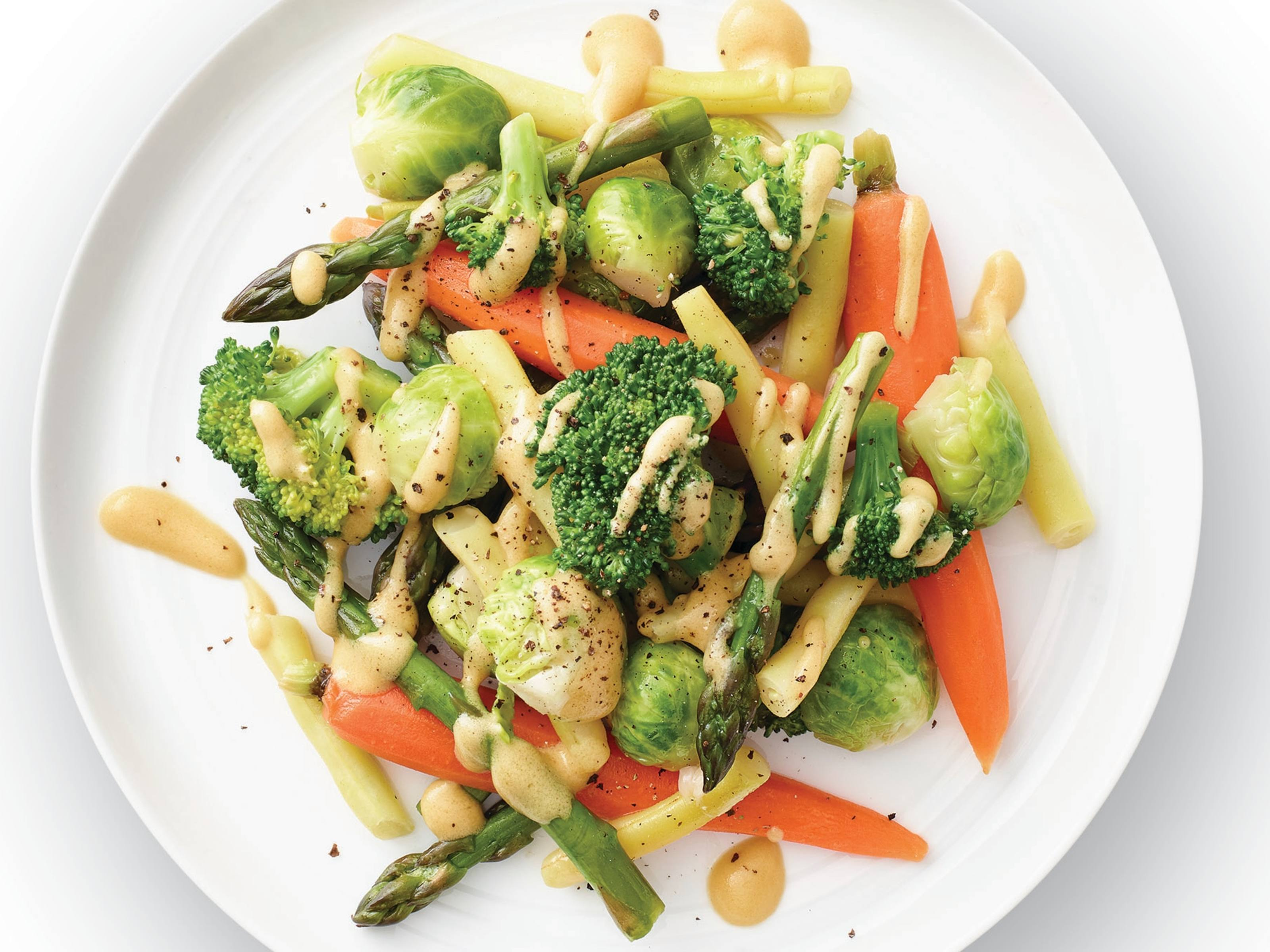 Steamed Vegetables with Dijon Dressing