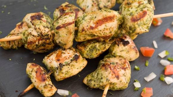 Cilantro and Lime Grilled Chicken Skewers