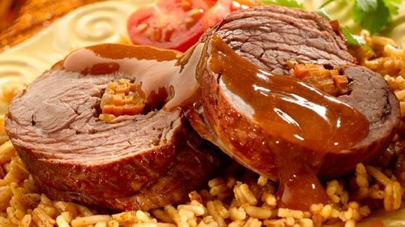 Smokey Braised Rolled Stuffed Steak