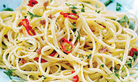 Linguine with Garlic, Chilli and Anchovy
